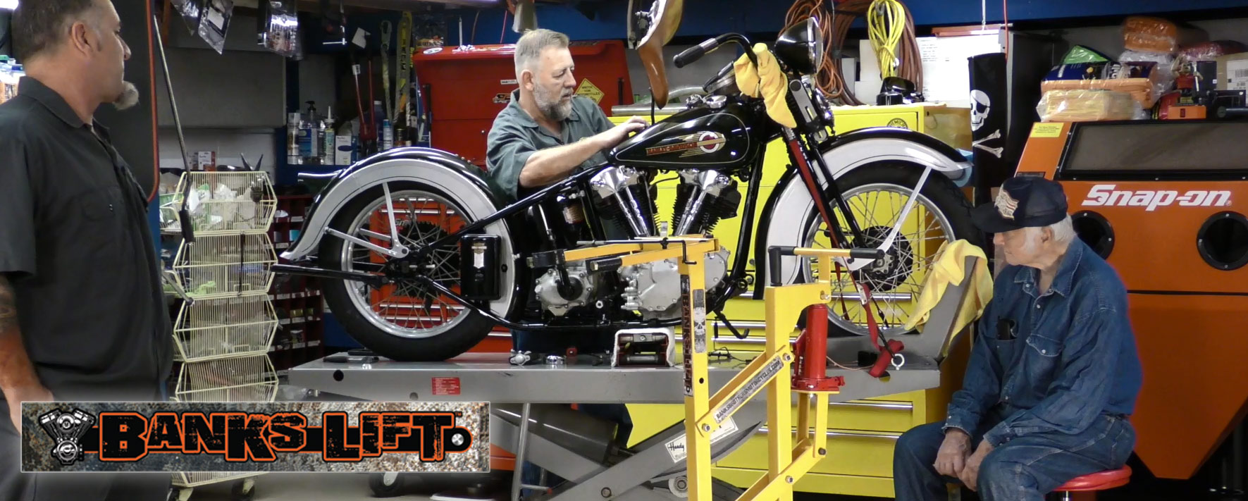 Lifft (crane) to remove Harley-Davidson Engine